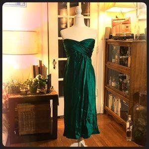 Silk Emerald strapless dress